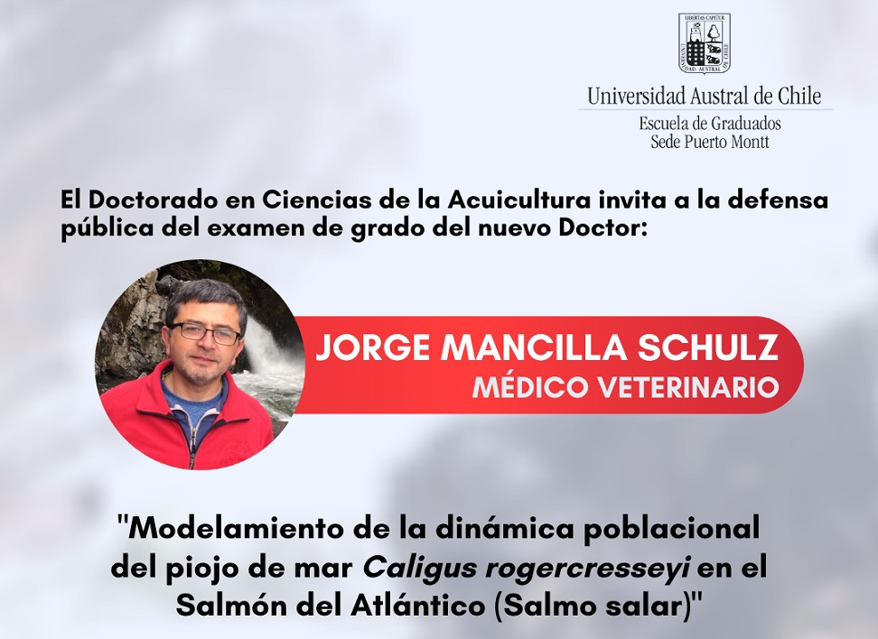 Doctorado en Ciencias de la Acuicultura UACh invita a la defensa pública de examen de grado